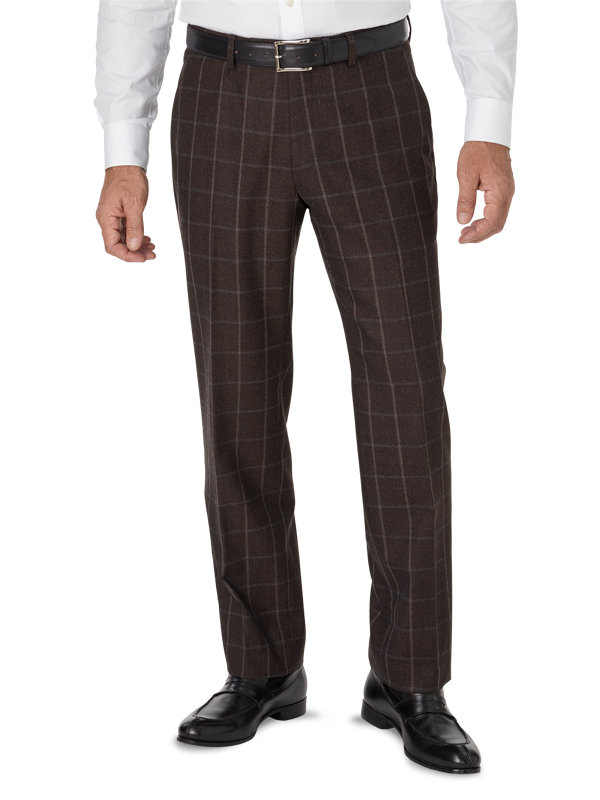 Tailored Fit Italian Wool & Cashmere Windowpane Flat Front Pant