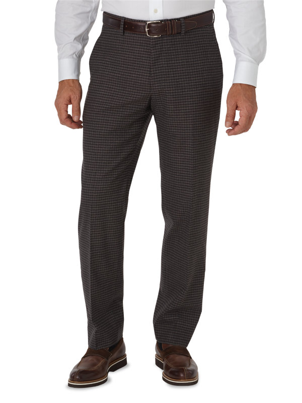 Tailored Fit Italian Wool Mini Check Flat Front Pant