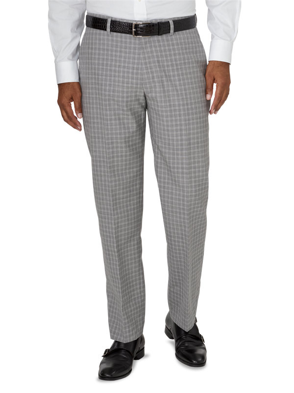Tailored Fit Luxury Italian Wool Plaid Flat Front Pants