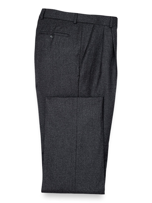 Wool Solid Pleated Pant