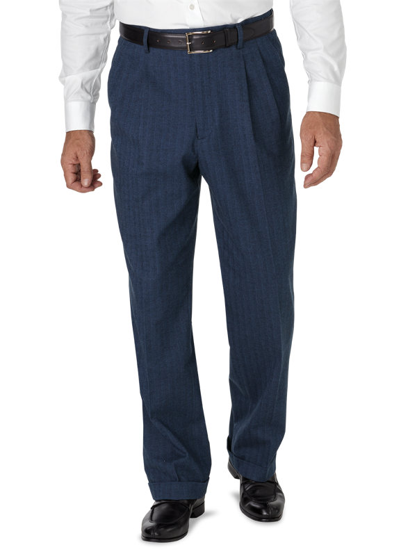 Cotton Herringbone Pleated Pant