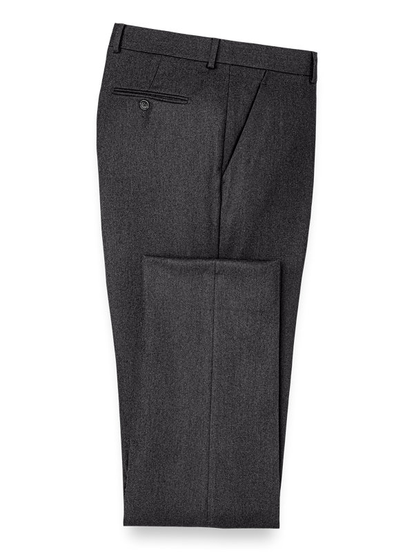 Wool Solid Flat Front Pant