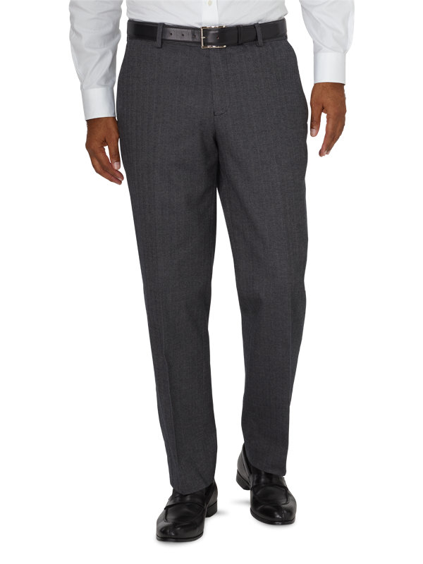 Tailored Fit Ultimate Comfort Cotton Herringbone Flat Front Pant