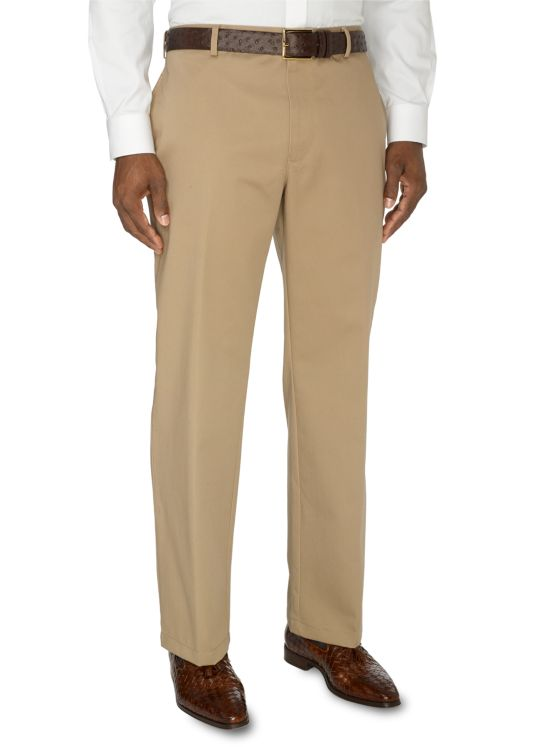 Non-Iron Cotton Chino Flat Front Pants