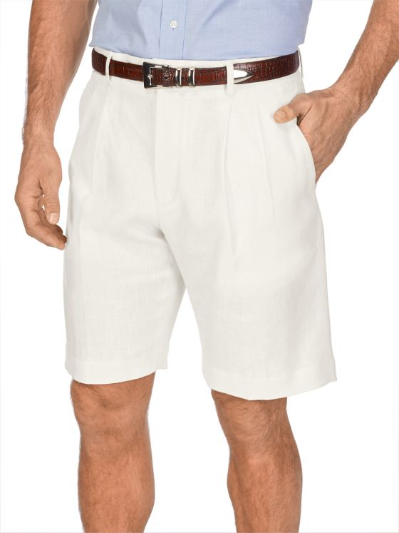 Linen Pleated Shorts
