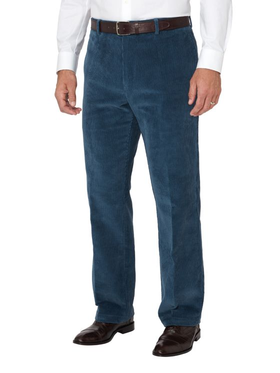 Cotton Corduroy Flat Front Pants