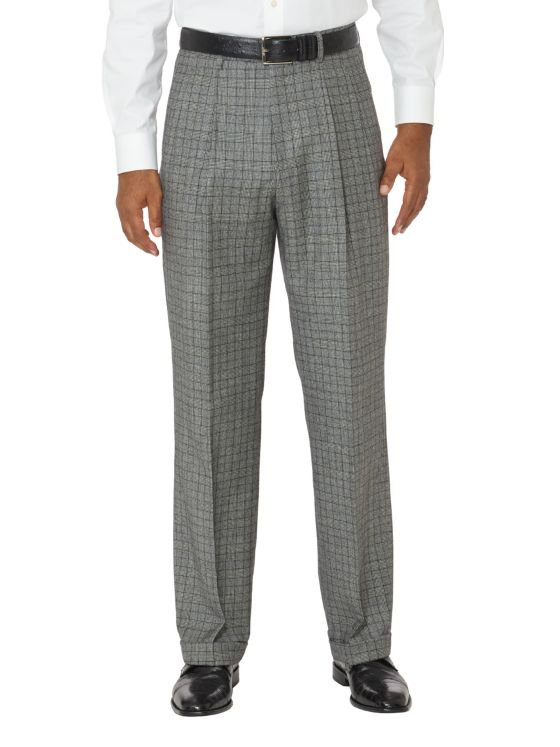 Wool Patterned Pleated Pants
