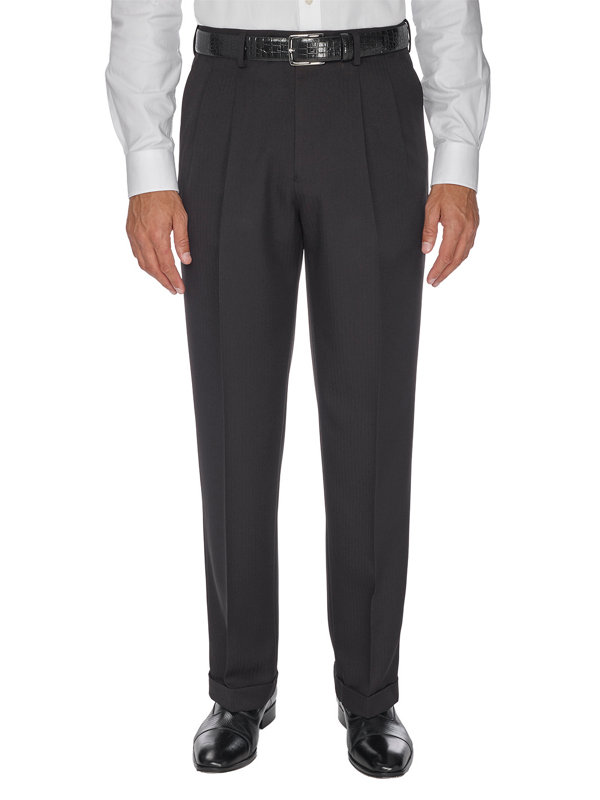 Tailored Fit Comfort-Waist Microfiber Herringbone Pleated Pant