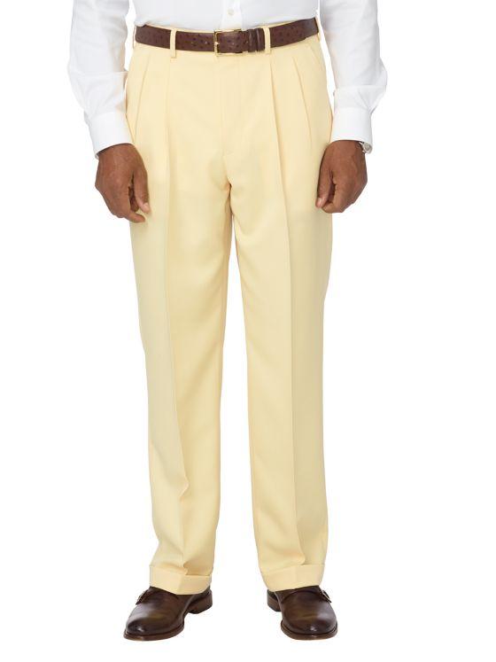 Tailored Fit Comfort-Waist Microfiber Herringbone Pleated Pant