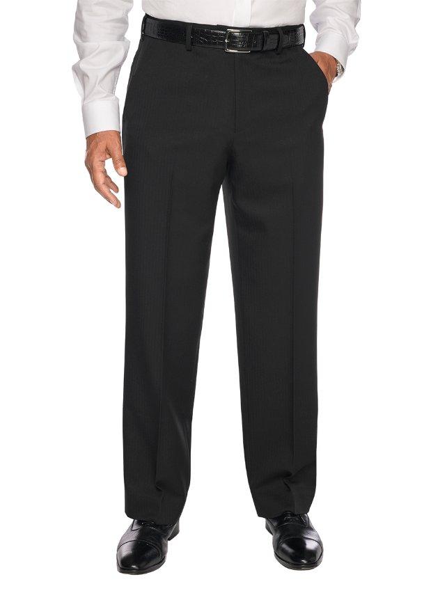 Tailored Fit Comfort-Waist Microfiber Herringbone Flat Front Pants