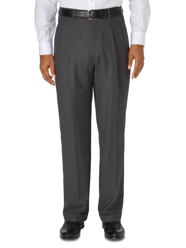 Classic Fit Italian Wool & Cashmere Solid Pleated Pant