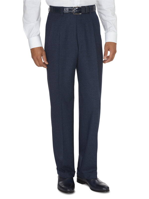 Italian Wool and Cashmere Solid Pleated Pants