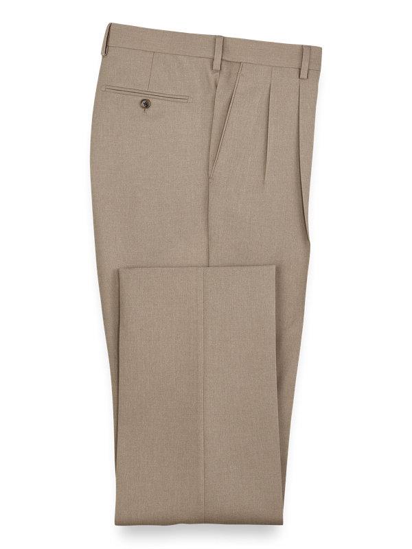Microfiber Herringbone Pleated Pants