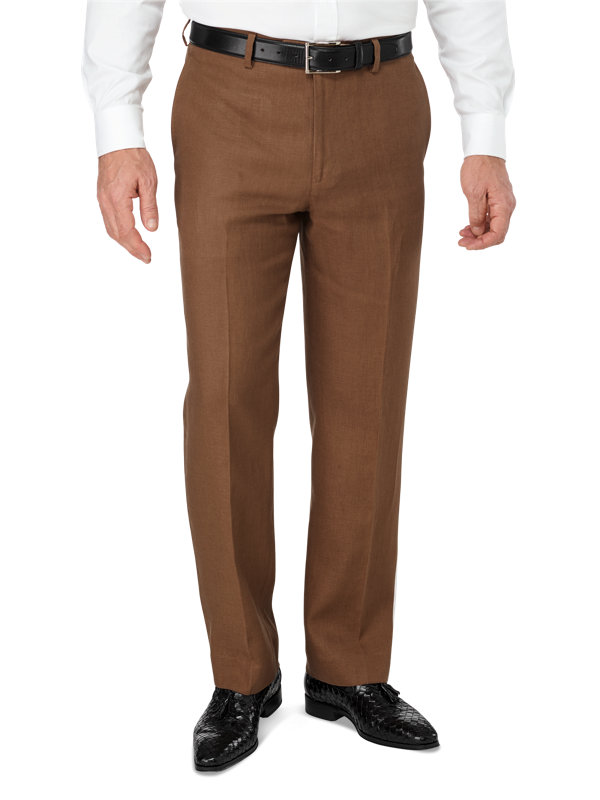 Tailored Fit Linen Flat Front Pant