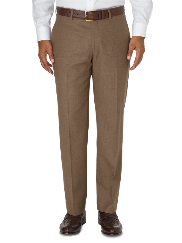 Tailored Fit Italian Wool & Cashmere Solid Flat Front Pant