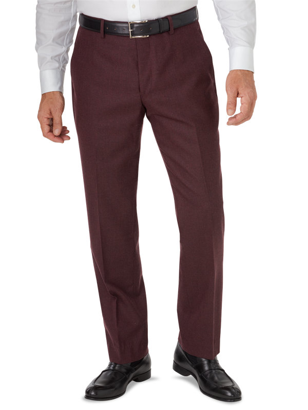 Italian Wool and Cashmere Solid Flat Front Pants