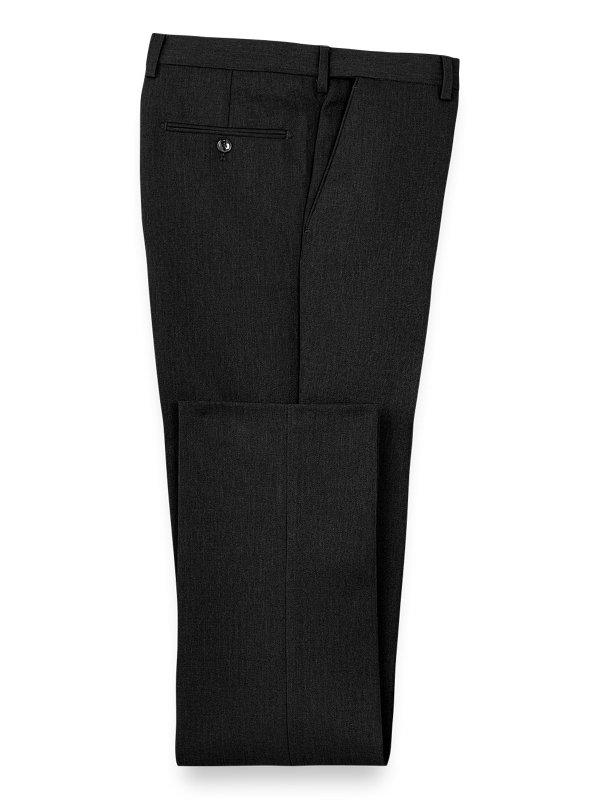 Tailored Fit Microfiber Expandable Waist Herringbone Flat Front Pant