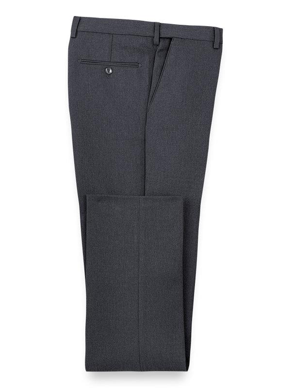 Microfiber Herringbone Flat Front Pants