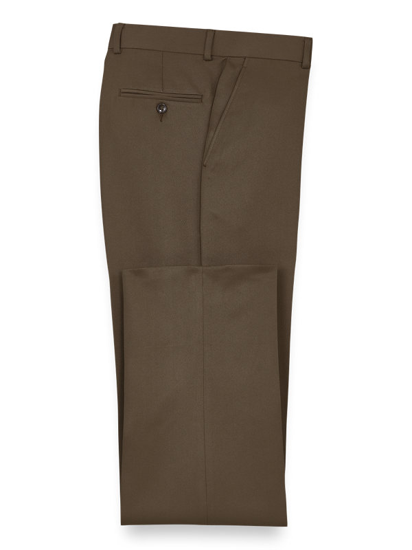 Solid Microfiber Flat Front Pants