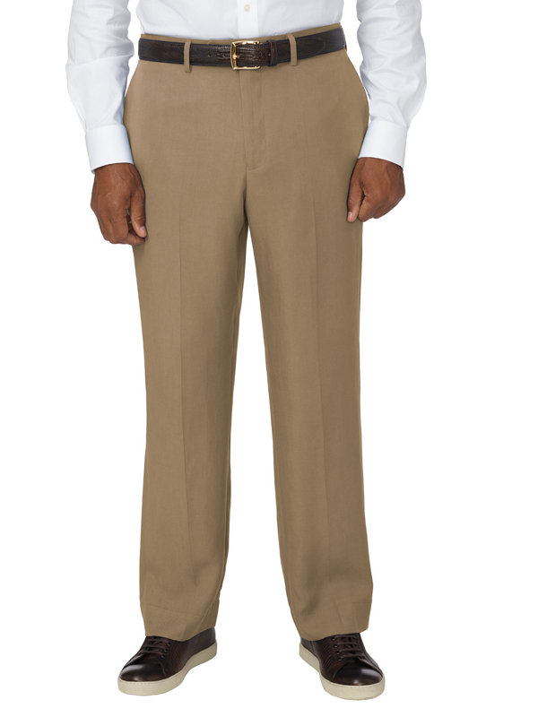 Tailored Fit Tencel & Linen Flat Front Pant
