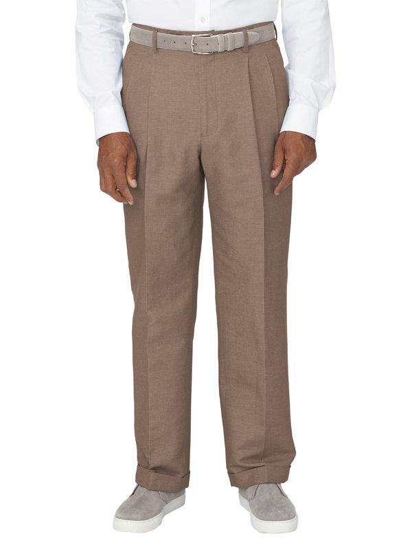 Linen & Cotton Blend Pleated Pant