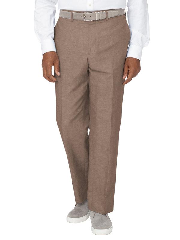 Tailored Fit Linen & Cotton Blend Flat Front Pant