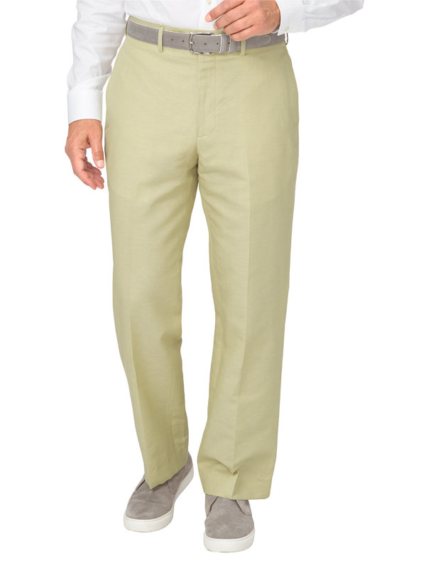 Tailored Fit Linen & Cotton Blend Flat Front Pant