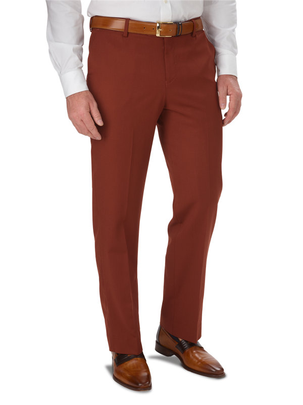 Tailored Fit Wool Gabardine Flat Front Pant