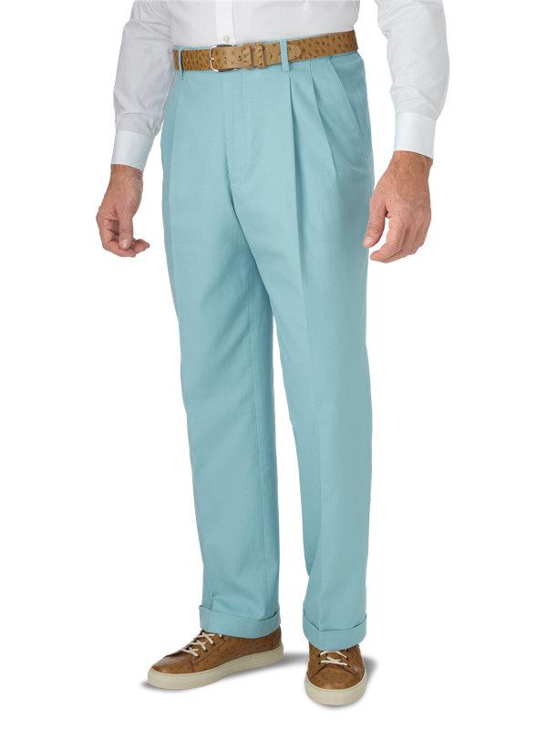 Classic Fit Ultimate Comfort Cotton Herringbone Pleated Pant