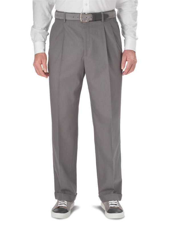 Classic Fit Ultimate Comfort Cotton Herringbone Pleated Pant