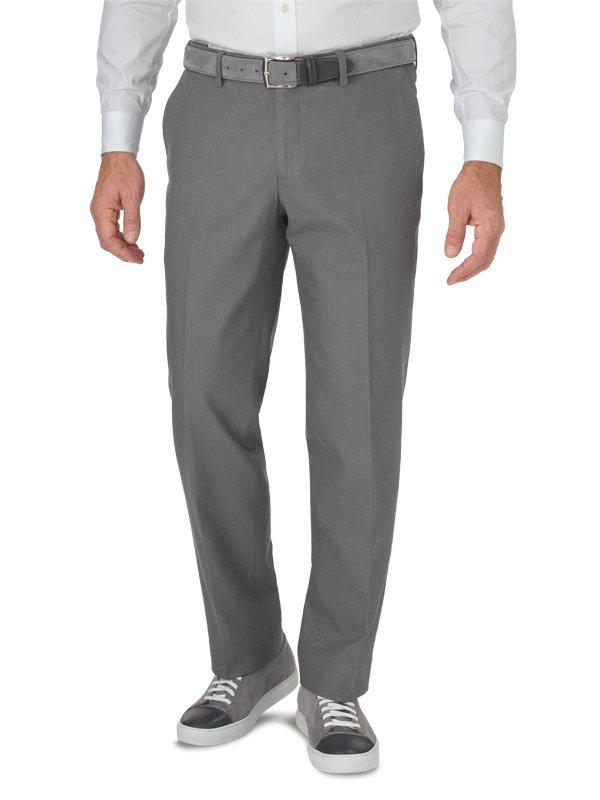 Tailored Fit Ultimate Comfort Cotton Herringbone Flat Front Pant