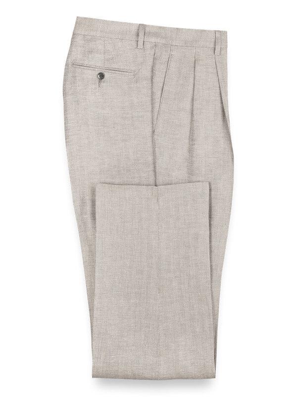 Linen Herringbone Pleated Pants