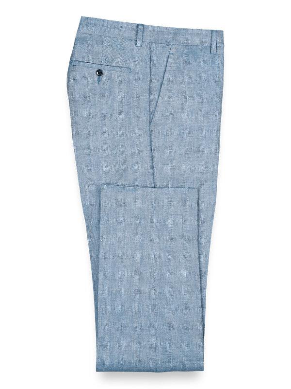 Linen Herringbone Flat Front Pants