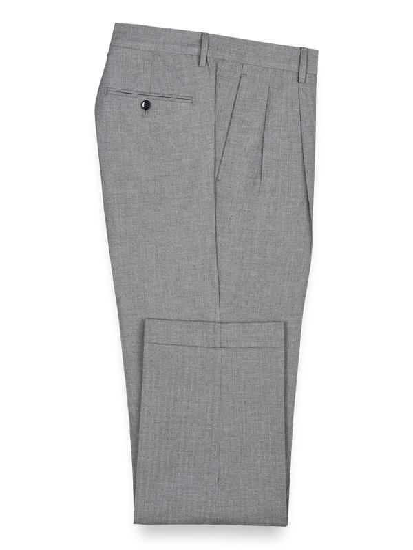Cotton Herringbone Pleated Pants