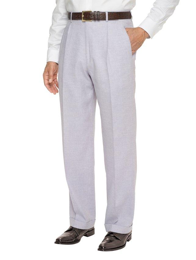Italian Wool, Linen And Cotton Textured Pleated Pants