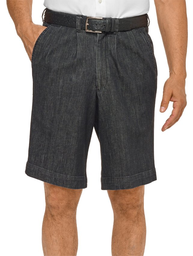 Cotton With A Touch Of Elastane Pleated Denim Shorts