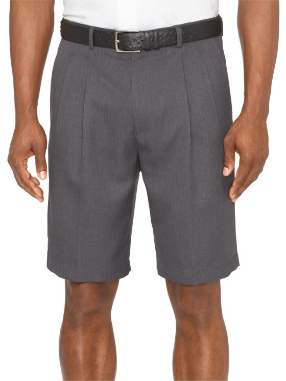 Comfort-Luxe™ Waist Microfiber Herringbone Pleated Shorts