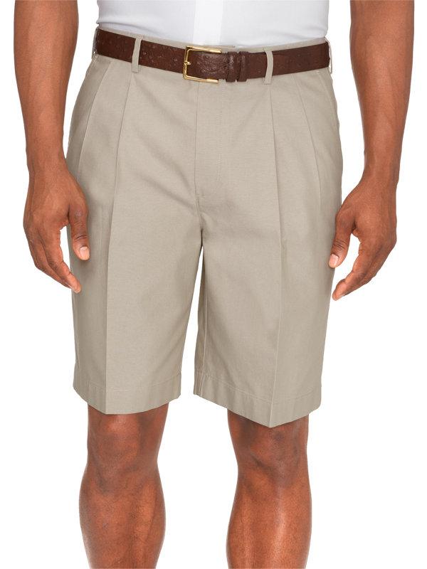 Non-Iron Supima Cotton Solid Pleated Shorts