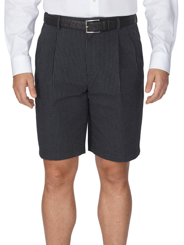 Cotton Seersucker Stripe Pleated Shorts