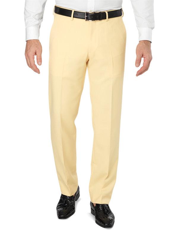 Tailored Fit Flat Front Microfiber Herringbone Pant