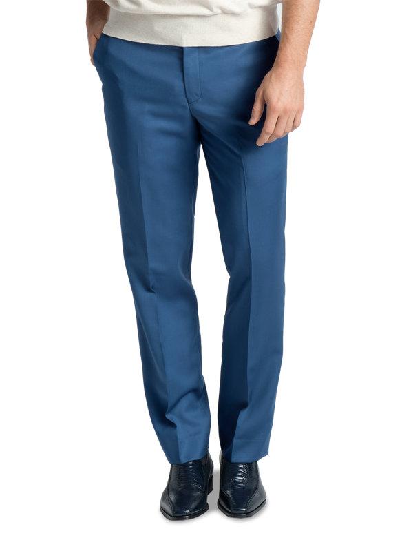 Wool Gabardine Flat Front Pants