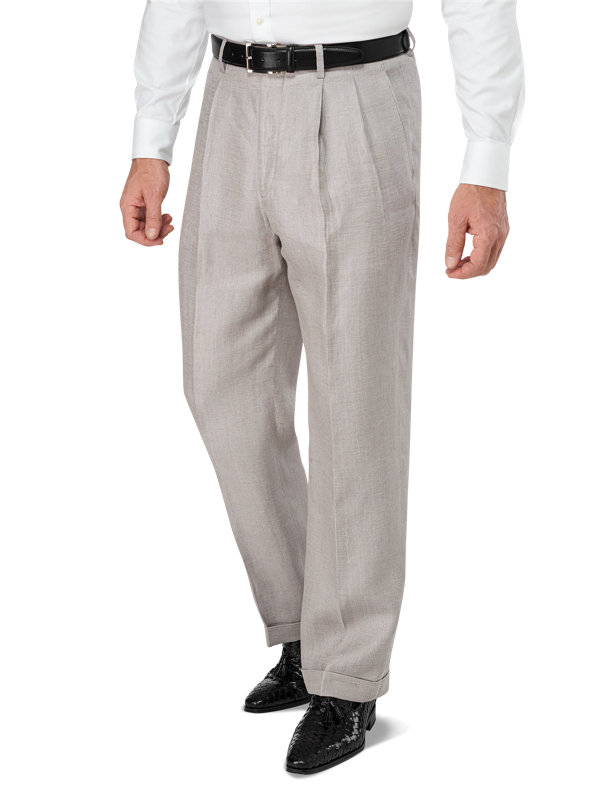 Classic Fit Pleated Linen Herringbone Pant