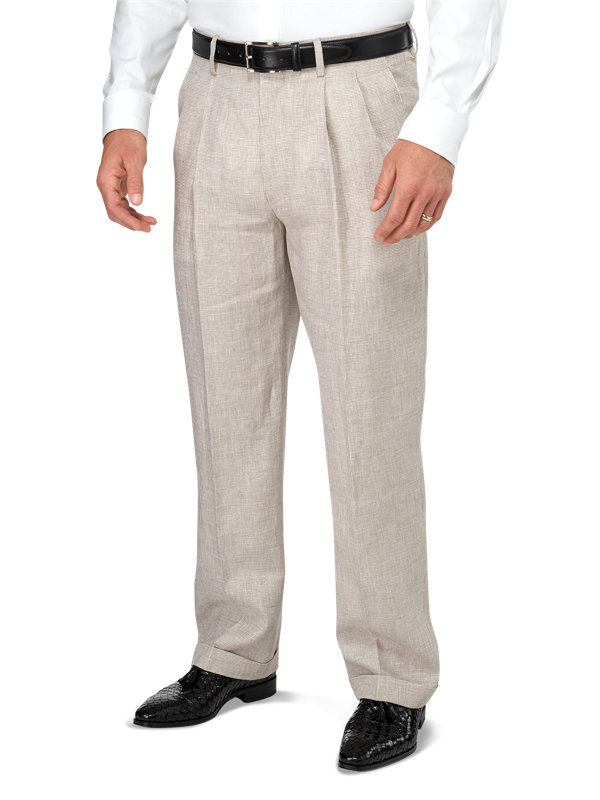Classic Fit Pleated Linen Houndstooth Pant