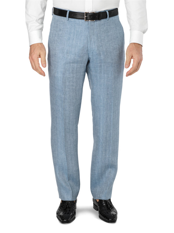 Tailored Fit Flat Front Linen Herringbone Pant