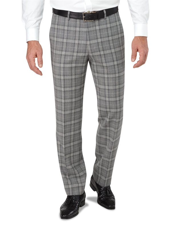 Tailored Fit Flat Front Italian Wool Plaid Pant