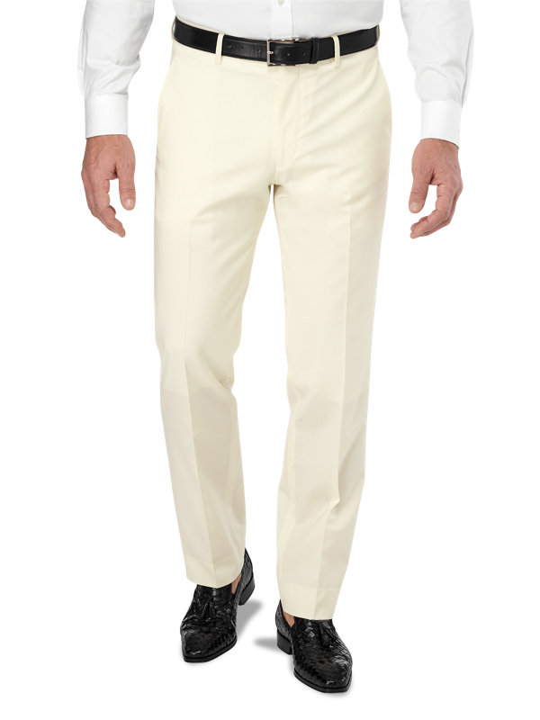 Tailored Fit Flat Front Italian Wool Solid Pant