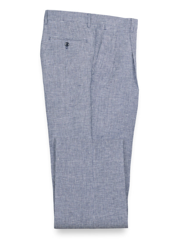 Linen Houndstooth Pleated Pants