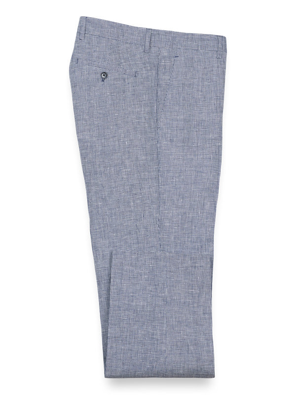 Linen Houndstooth Flat Front Pants