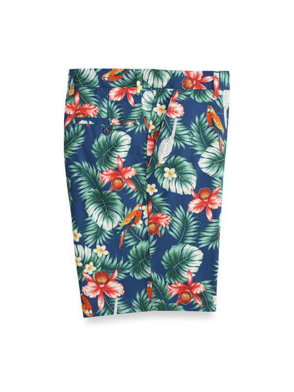 Cotton Pattern Flat Front Shorts
