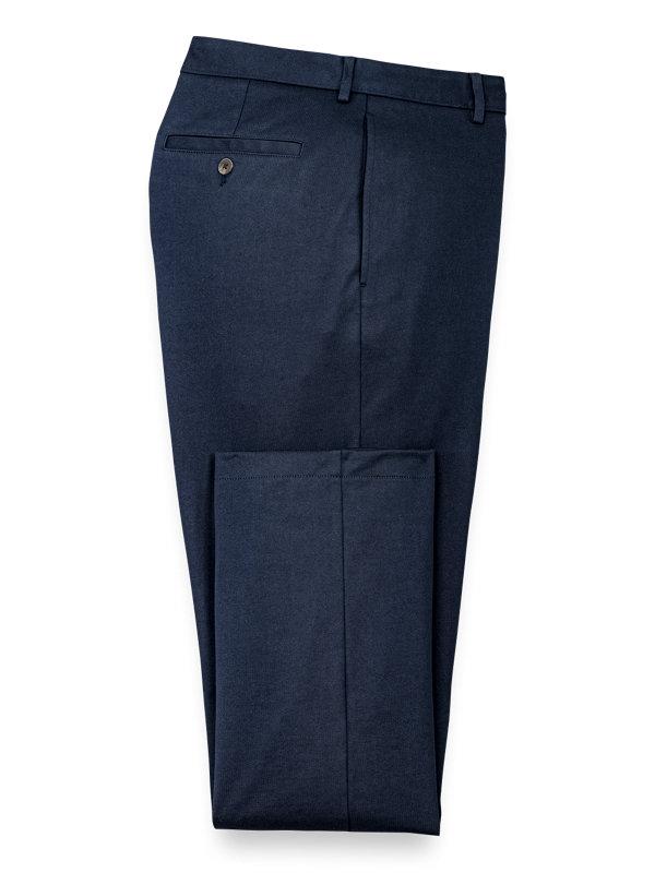 Cotton Knit Flat Front Pants